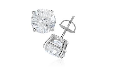 2.00 – 4.00 CTTW Certified Diamond Stud Earrings in 14K White Gold by Diamond Affection