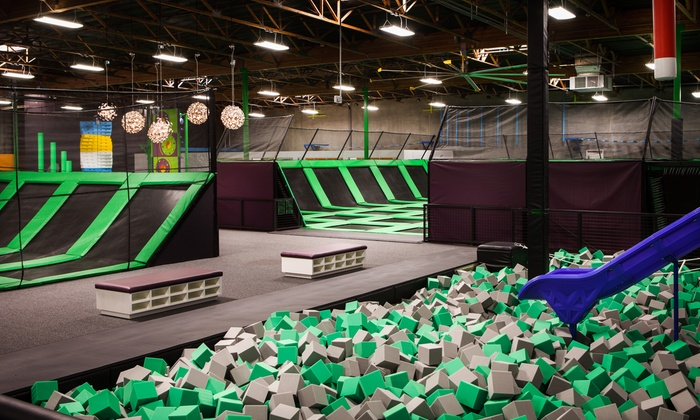 Jump Around Now - Jump Around Now: Two-Hour Adventure-Park Admission for Two or Four or VIP Booth Family Package at Jump Around Now (Up to 50% Off)