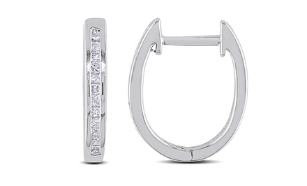 1/4 CTTW Princess-Cut Diamond Oval-Hoop Earrings in Sterling Silver