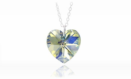 Aurora Borealis Heart Necklace with Swarovski Elements