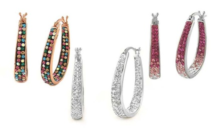 Pair of Ion-Plated or 18-Kt. Gold-Plated Swarovski Crystal Hoop Earrings (Shipping Included)