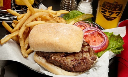 Dinner for Two or Four or Lunch for Two with Entrees and Drinks at Mile 277 Tap & Grill (Up to 43% Off)