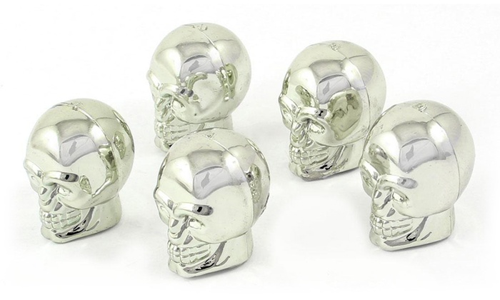 Shiny Skull Tire-Valve Covers (Set of 5)