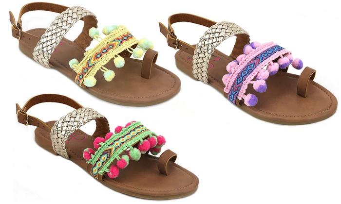 1cbd6d1b643f Olivia Miller Girls  Pom-Pom Sandals
