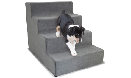 High-Density Foam Stairs for Pets with 4 Steps and Removable Microsuede Cover