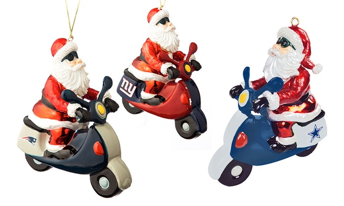 Dallas Cowboys Santa Gets There Scooter Ornament