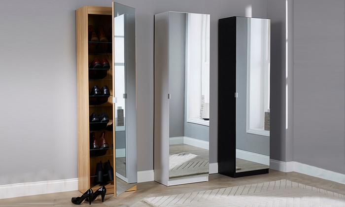 150cm or 180cm Mirrored Shoe Cabinet from £117 (26% OFF)
