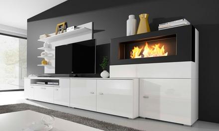 Meuble de salon avec cheminée bioéthanol intégrée à 499€ (71% de réduction)
