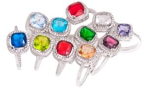Cushion Cut Birthstone Ring with Swarovski Crystals at Cushion Cut Birthstone Ring with Swarovski Crystals, plus 6.0% Cash Back from Ebates.