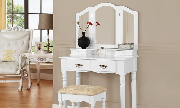 Groupon Goods Global GmbH: Lilly, Rose or Ella Dressing Table and Footstool Sets from £89.99 With Free Delivery (Up to 70% Off)