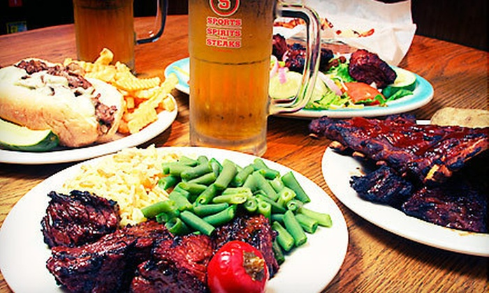 Sports, Steaks & Spirits - North Reading: American Pub Cuisine at Sports, Spirits & Steaks (Up to 60% Off). Three Options Available.