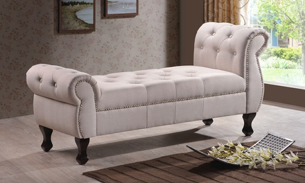 Button Tufted Rolled Arm Bench Groupon Goods