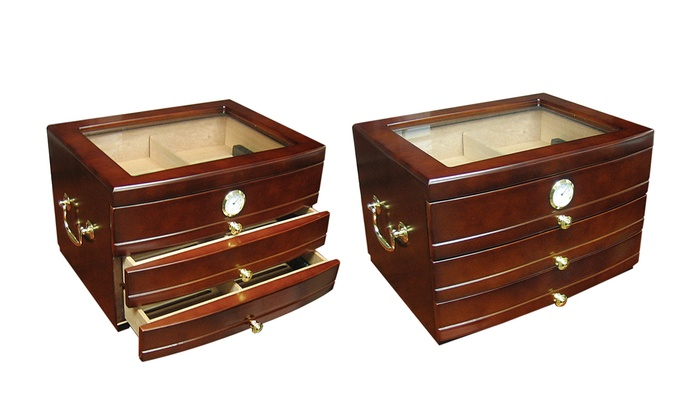 Prestige Import Group Luxury Glass Top Humidor