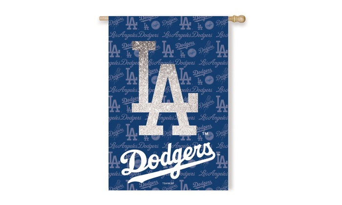 Los Angeles Dodgers Suede Metallic House Flags: Los Angeles Dodgers Suede Metallic House Flags