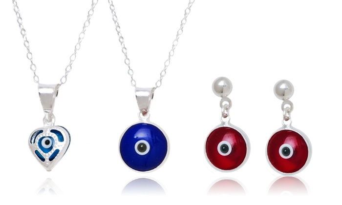 Sterling Silver Evil Eye Pendant and Earring Set: Sterling Silver Evil Eye Pendant and Earring Set