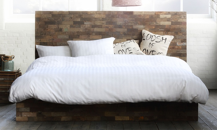 housse de couette satin de coton 220 fils groupon shopping. Black Bedroom Furniture Sets. Home Design Ideas