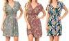 V-Neck Multicolor Print Dress