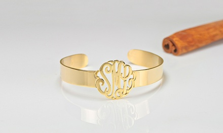 $25 for a Sterling-Silver-Plated Cutout Monogram Cuff Bracelet from MonogramHub ($170 Value)