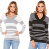 Solid or Striped V-Neck Sweaters