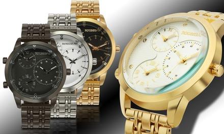 Rousseau Becker Men's 3 Time Zone Watch