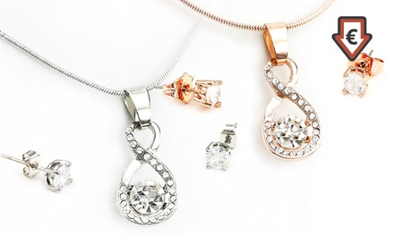 Conjunto de collar y pendientes Infinity decorados con cristales