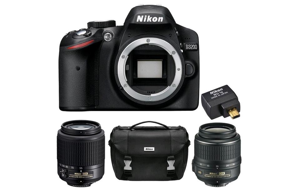 Nikon D3200 24.2MP DSLR with Optional Lens Bundle (Manufacturer Refurbished)