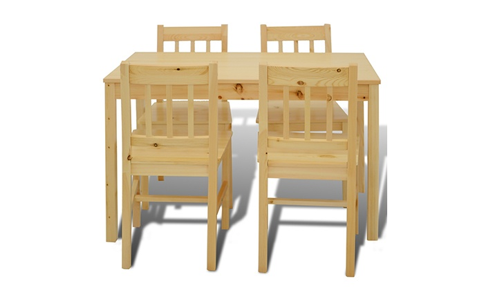 holztisch mit 4 st hlen groupon goods. Black Bedroom Furniture Sets. Home Design Ideas