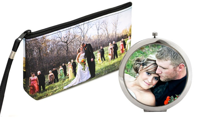 Snaptotes: Custom Photo Clutch and Custom Photo Compact Mirror from Snaptotes (Up to 57% Off)