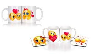 Personalised Valentine's Day Twin White Mug Set with Optional...