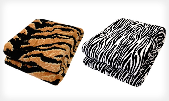 Plush Animal-Print Blankets: Northpoint Trading Plush Animal-Print Blanket in Twin, Full/Queen, or King (Up to Half Off). Six Styles Available.