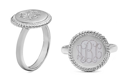 $34.99 for a Custom Monogrammed Rope-Accent Ring from Namejewelryspot.com ($145 Value)