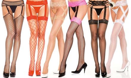 Women's Fishnet Suspender Pantyhose in Regular and Plus Sizes