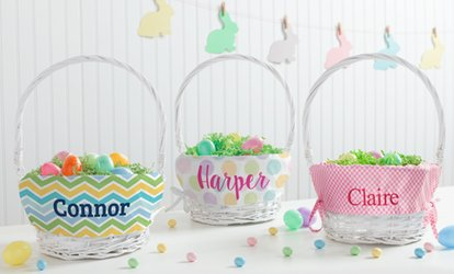 image for One Personalized Wicker Easter Basket from Personalized Planet (50% Off)