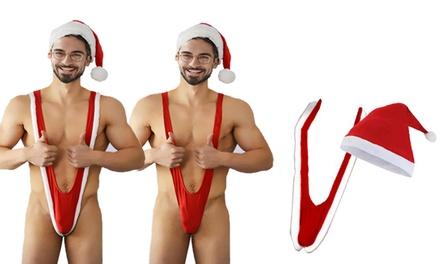 Mankini en Santakini met muts voor de kerstdagen