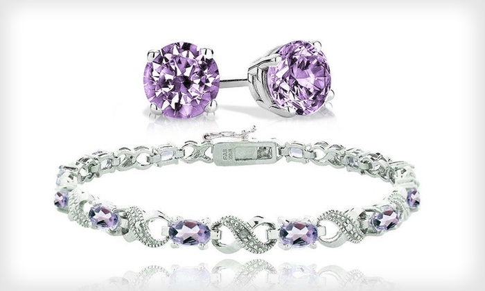 Amethyst Bracelet and Stud Earrings: February Birthstone Infinity Bracelet or Stud Earrings (Up to 88% Off). Free Returns.