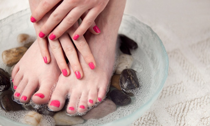 SOS Nails - Whitfield: $25 for a Manicure and Hot-Stone Pedicure at SOS Nails ($53 Value)