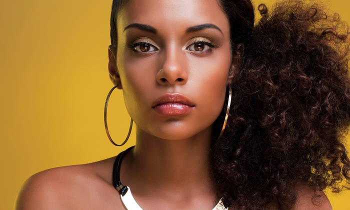 Amy Jackson - Del Ray: Full Sewn-In Weave, Natural Hair Styling, or Haircut and Relaxer from Amy Jackson (Up to 56% Off)