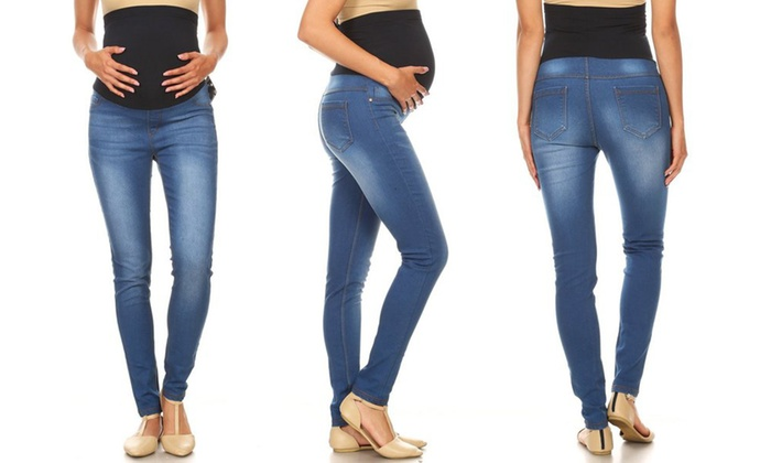 063bf18d8917c Up To 66% Off on Jvini Maternity Denim Jeggings | Groupon Goods