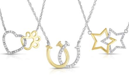1/6, 1/5, or 1/4 CTTW Diamond Interlocking Two-Tone Pendant