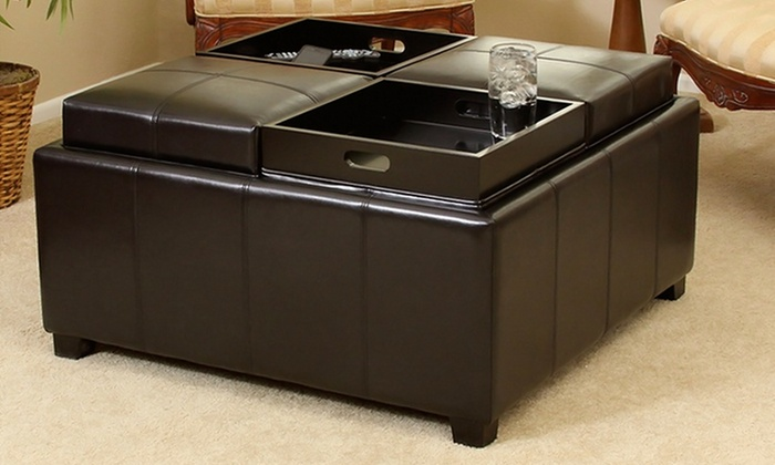 Bonded Leather Storage Ottoman with 4 Tray Flip TopsGroupon