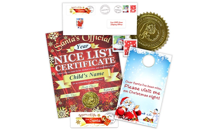 Letters And Gifts From Santa: Nice List Certificate from Santa with Door Hanger or Oval Sticker from Letters And Gifts From Santa (44% Off)