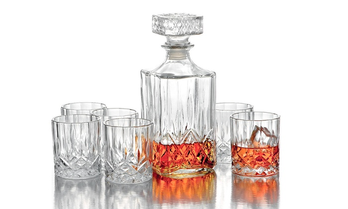 jay companies kentucky 7 piece whiskey decanter set groupon. Black Bedroom Furniture Sets. Home Design Ideas