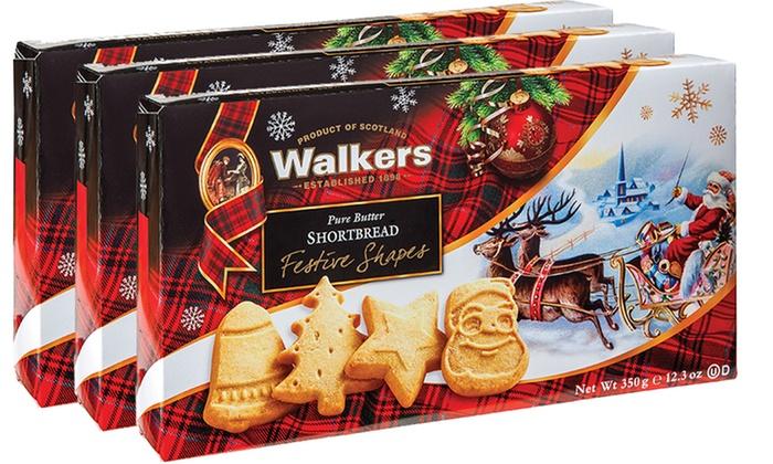 3 Pack Of Walkers Pure Butter Shortbread Festive Shape Cookies