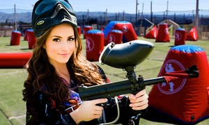 Paintball International: All-Day Paintball for Up to 6 or 10 w/ Equipment Rental and Pizza from Paintball International (Up to 86% Off)