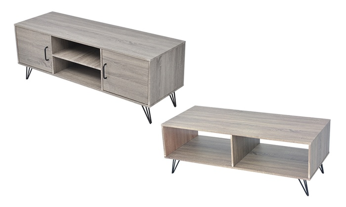 meuble tv ou table basse bois gris groupon shopping. Black Bedroom Furniture Sets. Home Design Ideas