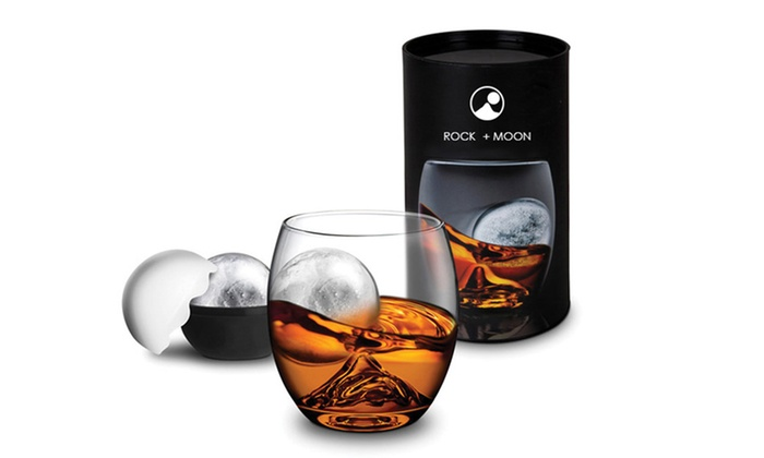 Rock + Moon: $19.99 for a Custom Tumbler Set with Glass Tumbler and Silicone Ice-Ball Mold from Rock + Moon ($39 Value)
