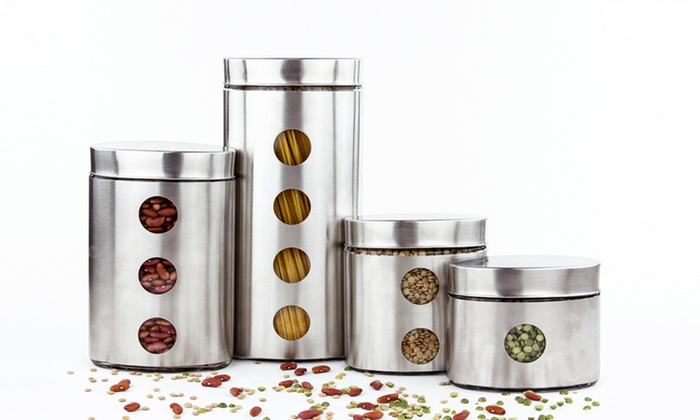 3  Or 4 Piece Glass Or Stainless Steel Canister Set: 3  Or ...