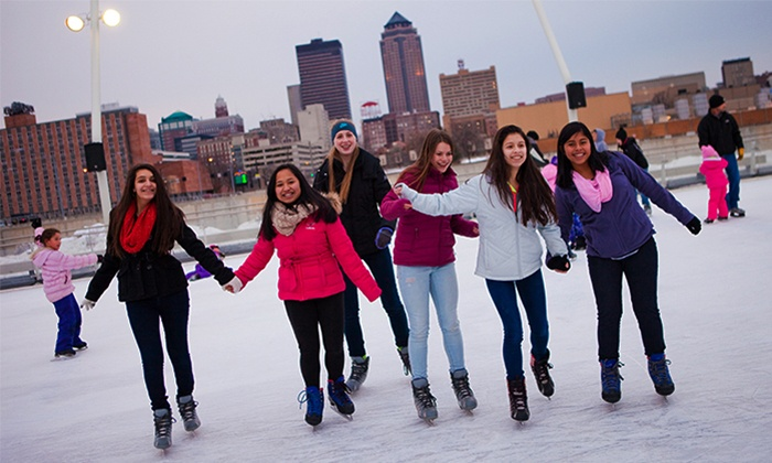 Brenton Skating Plaza - Des Moines: Ice Skating with Skate Rentals for Two, Four, or Six at Brenton Skating Plaza (Up to 53% Off)