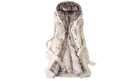 3-in-1 Parka mit Kapuze für Damen in Weiß