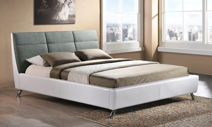Bonded Leather Low Profile Platform Bed Frame W Paneled: Bruno 2-Tone Platform Bed